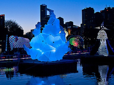 Inflatable Artwork Puff at Night