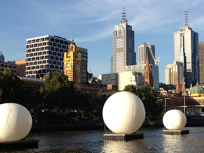 5m 7m Projection Inflatable Spheres Balls Yarra River Barge