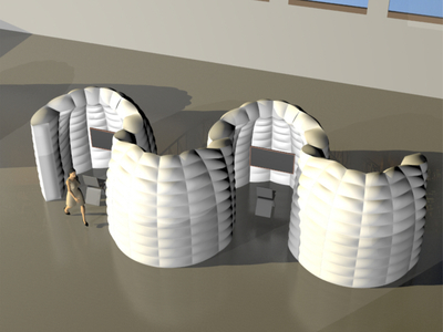 Multiple Inflatable separation Pods - Drawing White