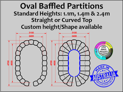 Oval Inflatable isolation  Baffled Partitions - Sizes