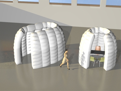 Round inflatable interview pods Quilted  - Drawing White